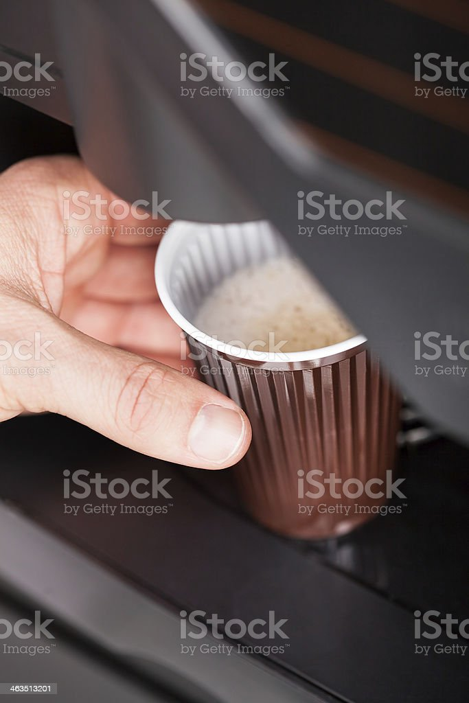 Close up of automatic coffee machine stock photo