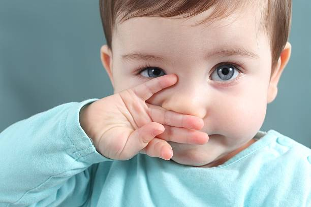 close up of baby looking at camera with blue eyes - nose stock photos and pictures
