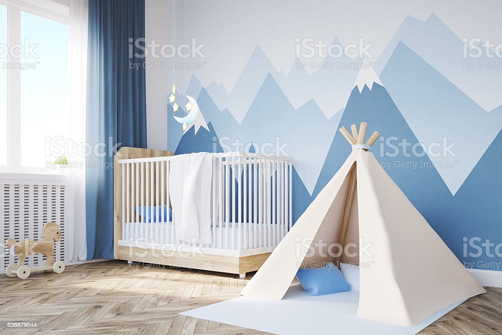 Close up of baby's room, tent and mountain stock photo