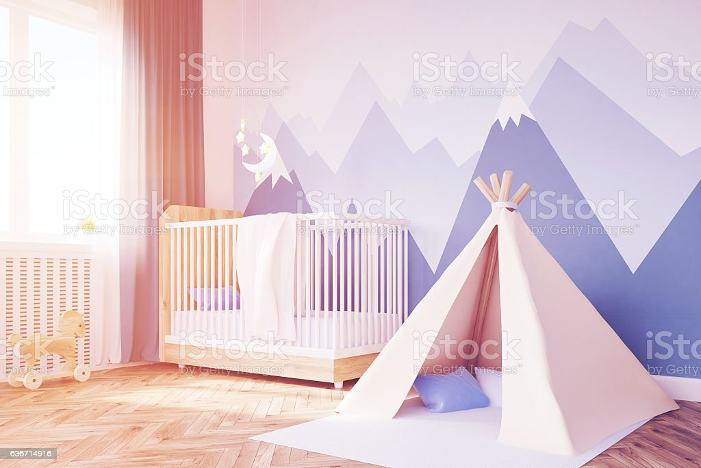 Close up of baby's room, tent and mountain, toned stock photo