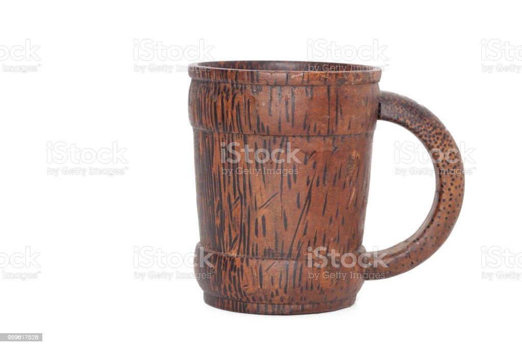 close up of bamboo mug on white background stock photo
