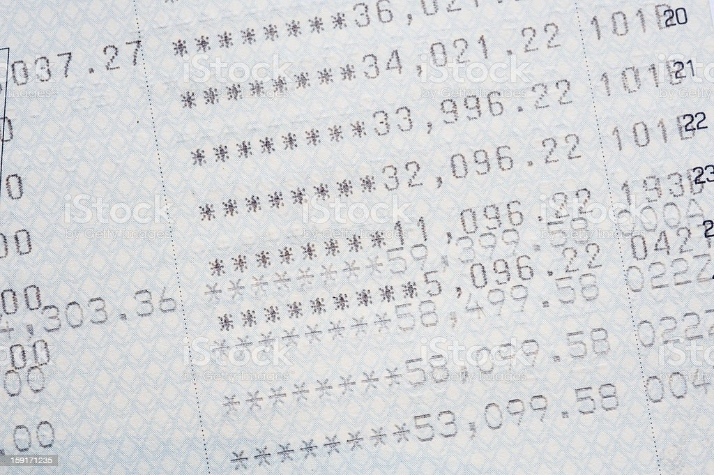 close up of bank statement stock photo