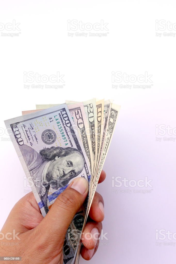 close up of banknote on hand royalty-free stock photo