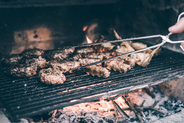 Close up of barbecue meat food. stock photo