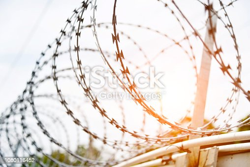 Close up of barbed wire fence.