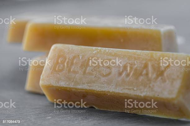 Close up of bars of molded beeswax