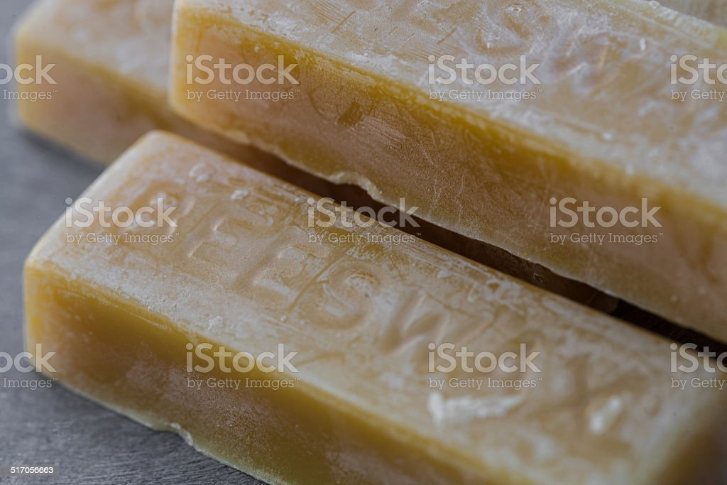 Close up of bars of molded beeswax stock photo