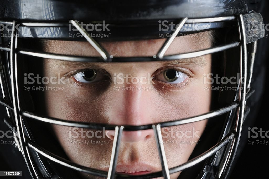 Close up of baseball catcher stock photo