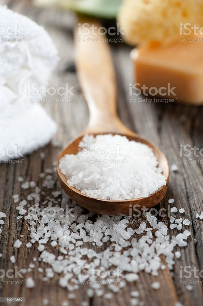 Close up of bath salt in a spoon stock photo