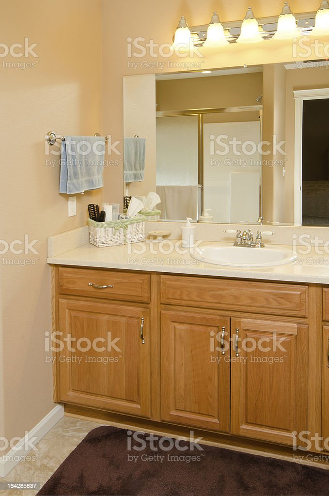 Close up of bathroom sink stock photo