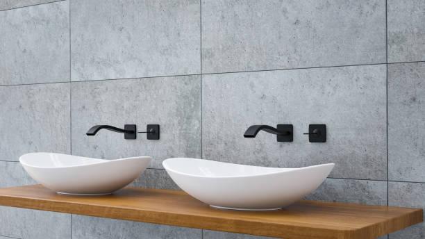 Nahaufnahme des Badezimmers Eitelkeiten Becken auf einer gewölbten Eiche Top-Eitelkeit mit schwarzem Wasserhahn 3D-Illustration – Foto