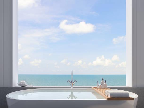 Nahaufnahme der Badewanne mit Meerblick Hintergrund 3d rendern – Foto
