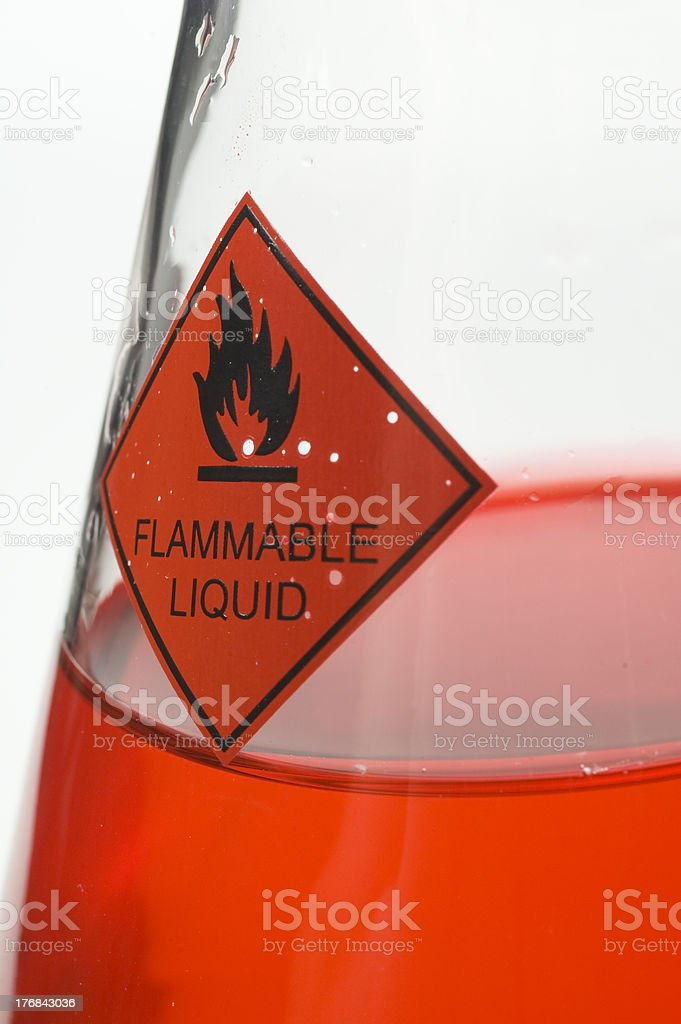 Close up of Beaker with Red Liquid stock photo