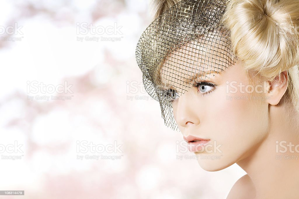 close up of beautiful woman against pink background royalty-free stock photo