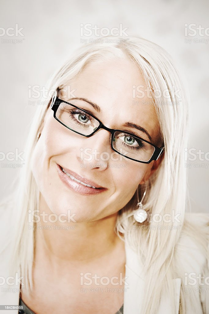 Close up of beautiful woman in glasses royalty-free stock photo