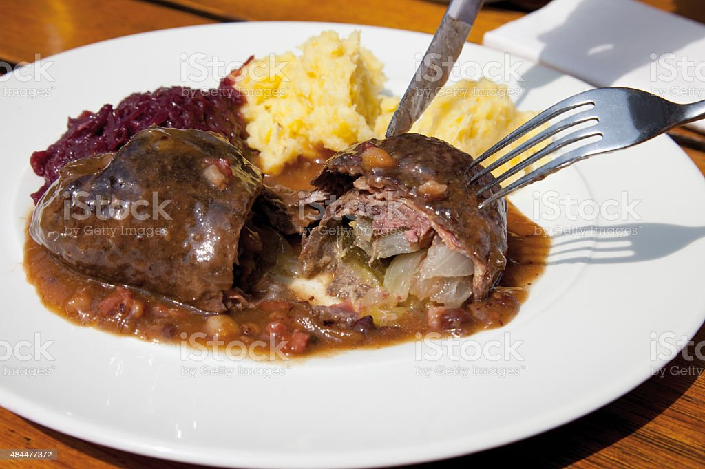 Close up of beef with mashed potatoes - foto de acervo