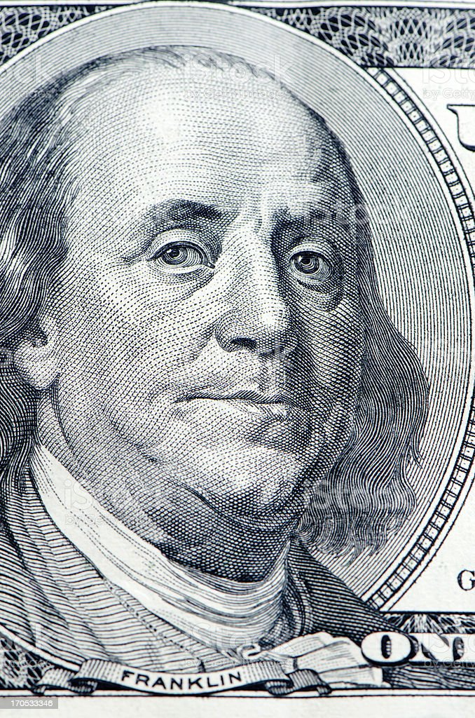 Close up of Benjamin Franklin on bank note royalty-free stock photo