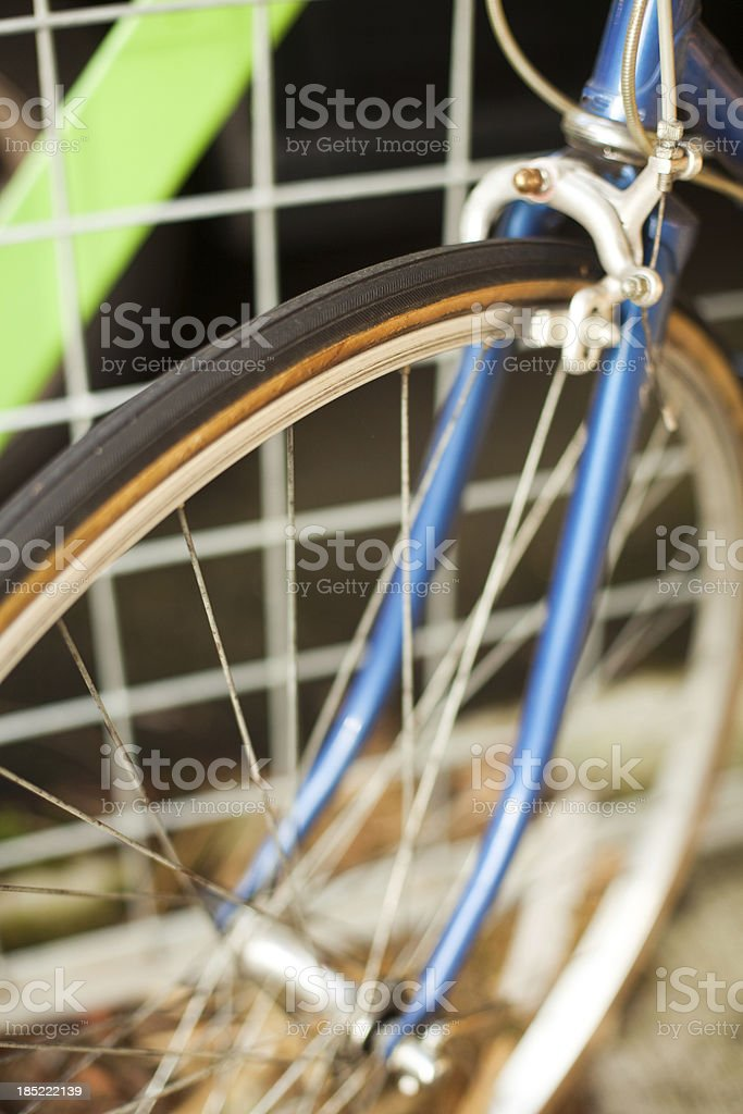 Close up of Bicycle Front Wheel and Spokes stock photo