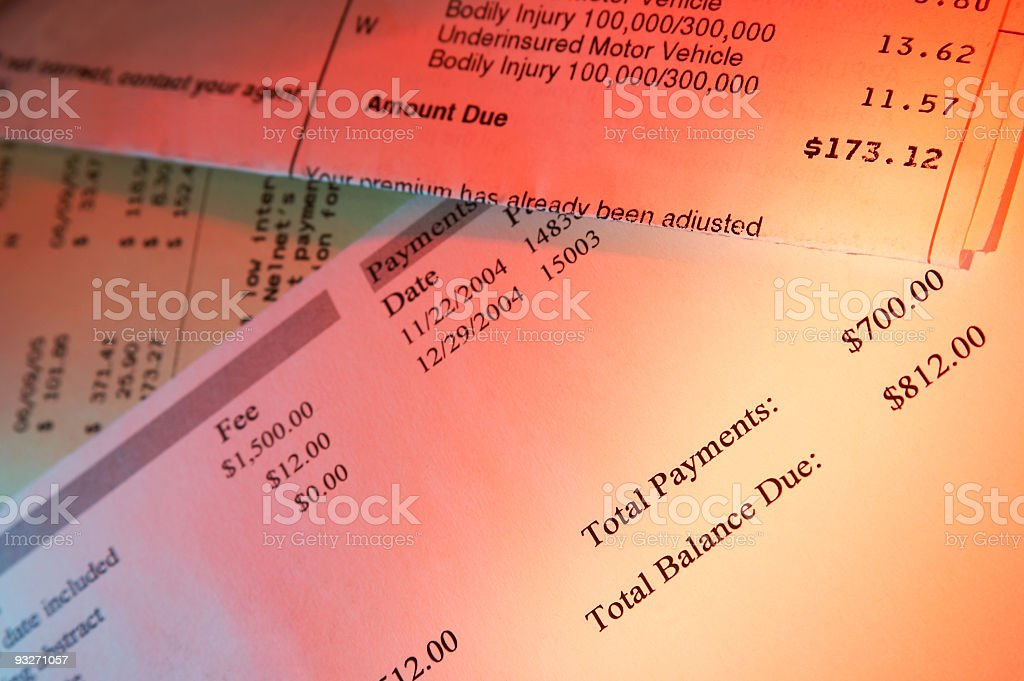 A close up of bills that need to be paid royalty-free stock photo