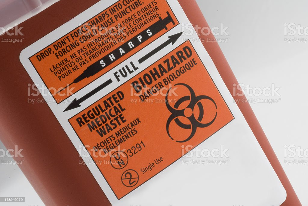 Close up of Biohazard Container royalty-free stock photo