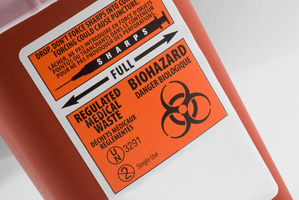 Close up of Biohazard Container stock photo