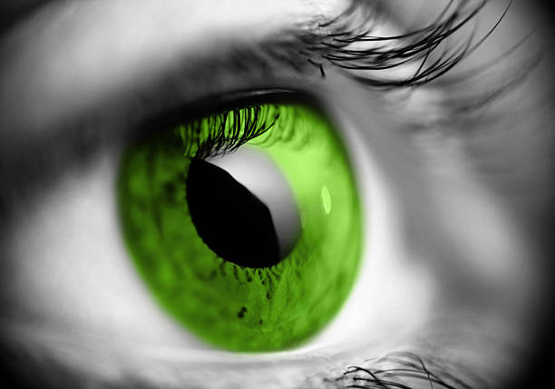 Close up of black and white image of eye with green iris stock photo