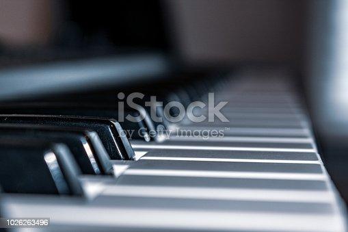 Close up of black and white piano keys  keyboard