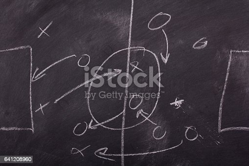 istock Close up of blackboard for coaching tactics 641208960