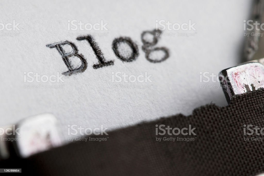 Close up of BLOG written on old typewriter royalty-free stock photo