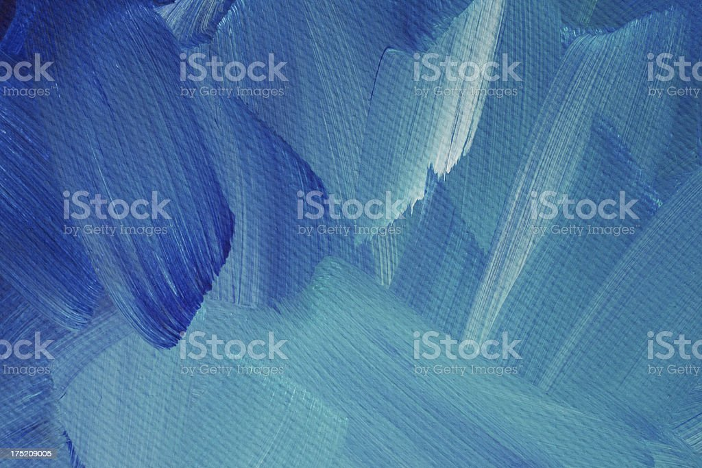 Close up of blue, aqua and white brush strokes stock photo