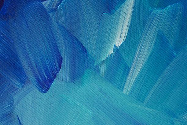 Close up of blue, aqua and white brush strokes stock photo