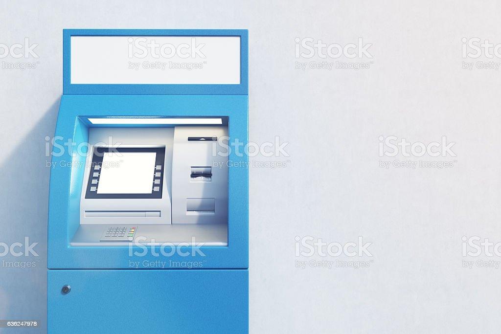 Close up of blue ATM machine stock photo