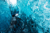This photograph is a close up of a blue ice cave in Vatnajokull Iceland.