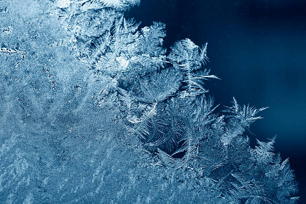Close up of blue ice crystals  stock photo