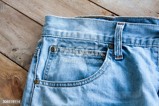 istock Close up of blue jeans 506319114