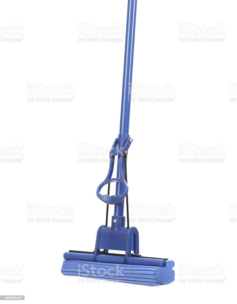 Close up of blue mop with sponge. royalty-free stock photo
