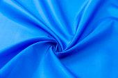 Close up of blue satin