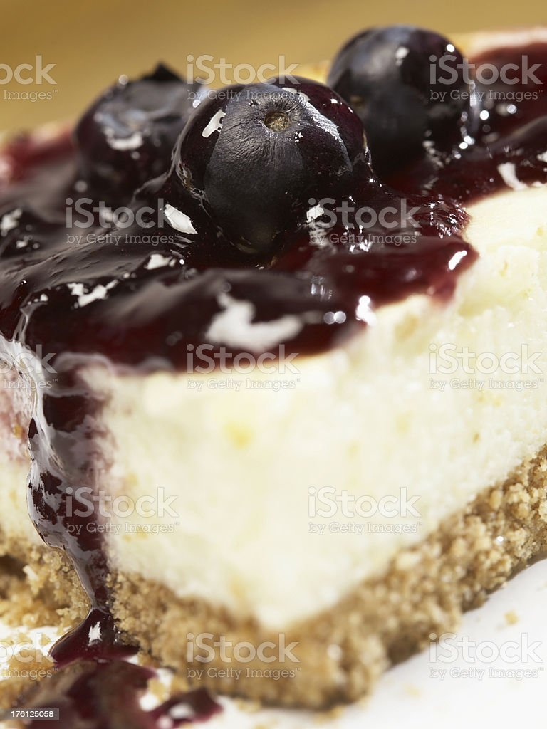Close Up of Blueberry Cheesecake stock photo