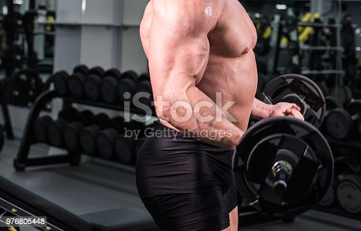istock Close up of bodybuilder man with big muscles in the gym 976805448