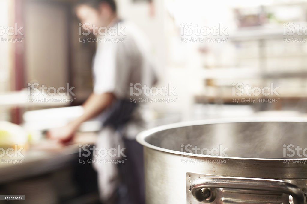 Close up of boiling pot in kitchen royalty-free stock photo