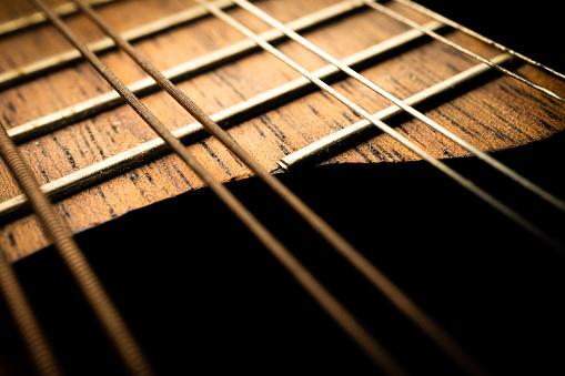 Closeup details of an acoustic guitar, using selective focus