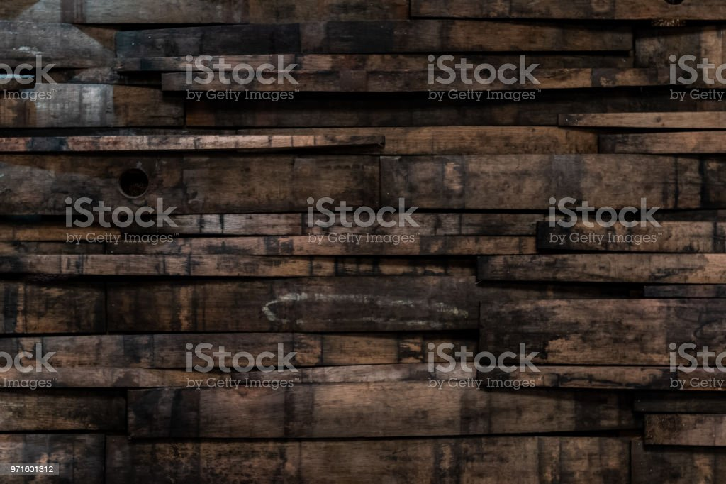 Close Up of Bourbon Barrel Stave Wall stock photo