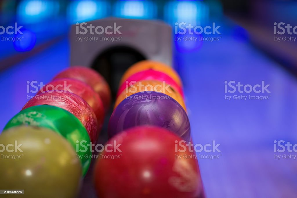 Close up of bowling balls stock photo