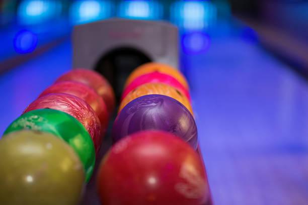 Close up of bowling balls stock photo