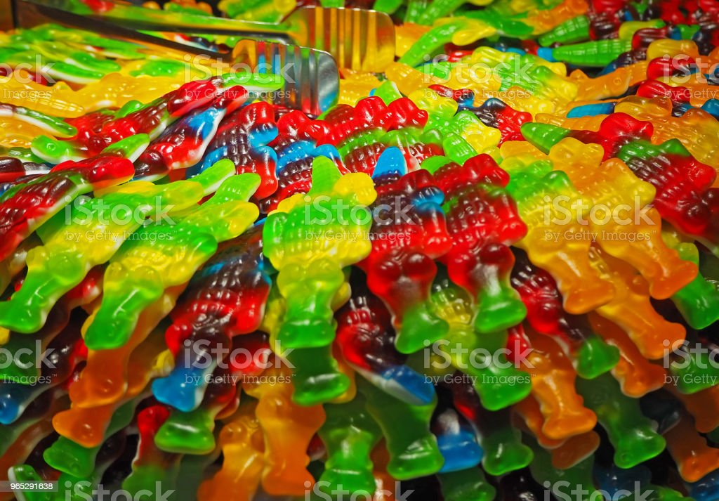 Close up of bowls filled with a large selection of crocodiles soft candies zbiór zdjęć royalty-free