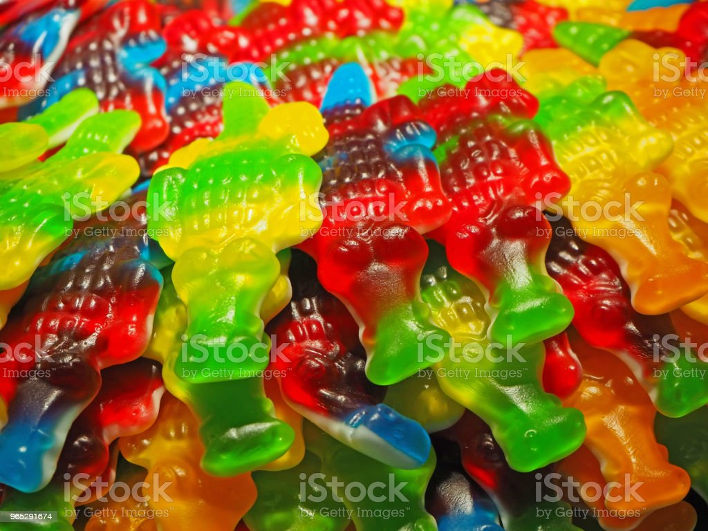 Close up of bowls filled with a large selection of crocodiles soft candies royalty-free stock photo