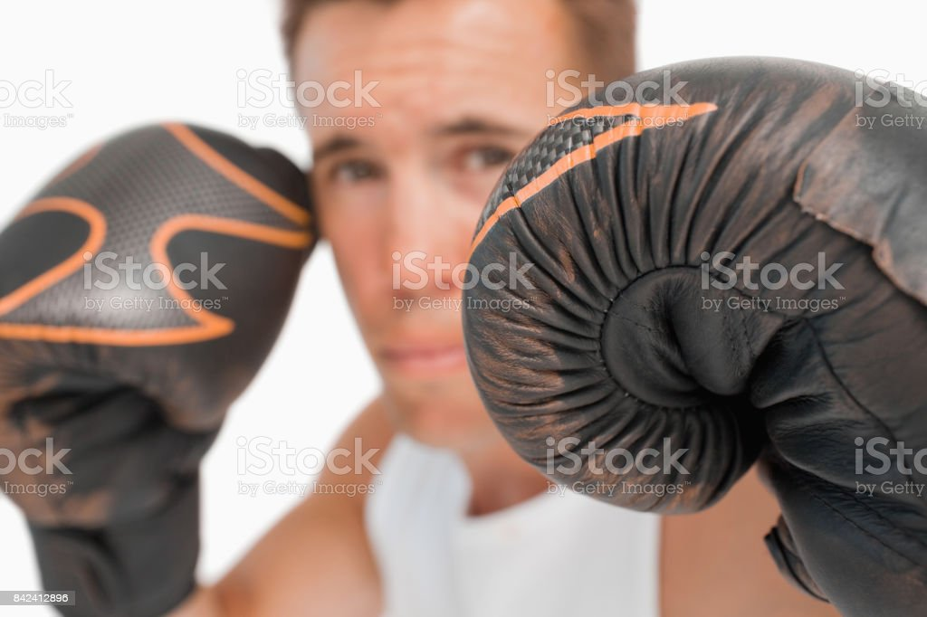 Close up of boxer with gloves on stock photo