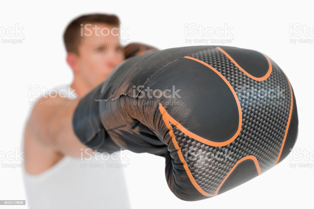 Close up of boxers fist stock photo