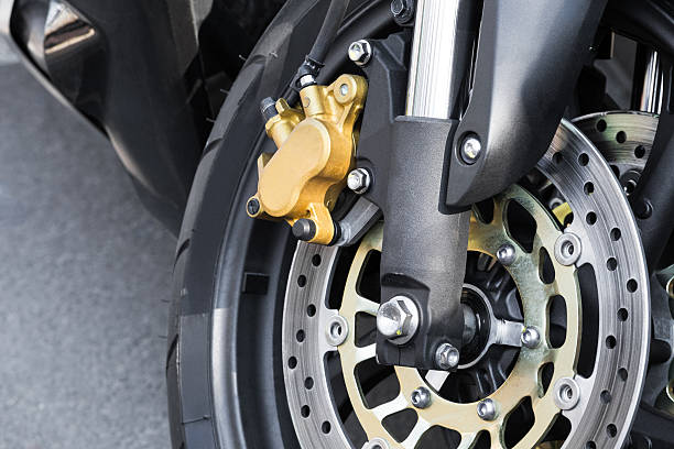 Close up of braking mechanism on motorcycle stock photo