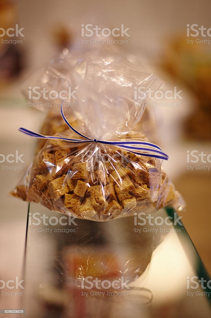 close up of bread crumbs bag stock photo